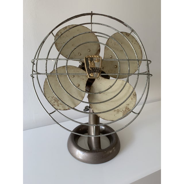 "Vintage Emerson Northwind Electric Industrial Desk Fan No.94646-D Metal 4 Blade. Nice working fan. 14"" cage, two speed,..."