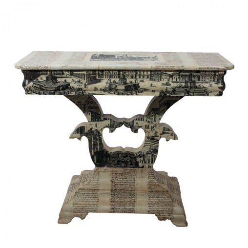 Wood Empire Style Decoupage Game Table For Sale - Image 7 of 8