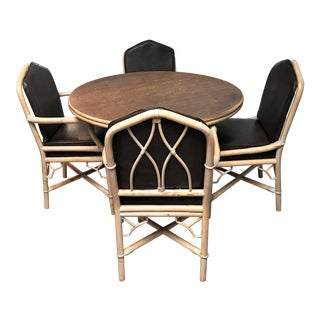 1960s Chinoiserie Rattan Dining Table & Chairs - 5 Pieces For Sale