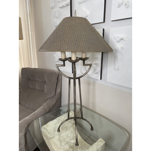 1970s Woven Shade Iron Lamps - a Pair For Sale - Image 4 of 9