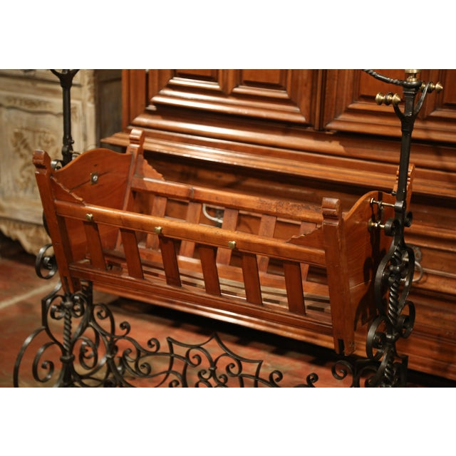 French 19th Century French Napoleon III Walnut and Iron Baby Craddle With Canopy For Sale - Image 3 of 9