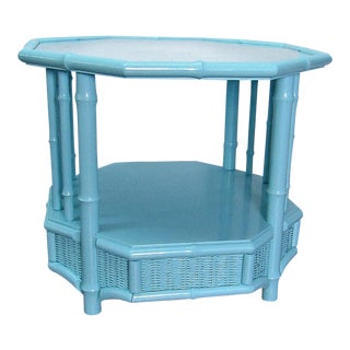 Boho Chic Turquoise Octagon Glass Topped Table For Sale