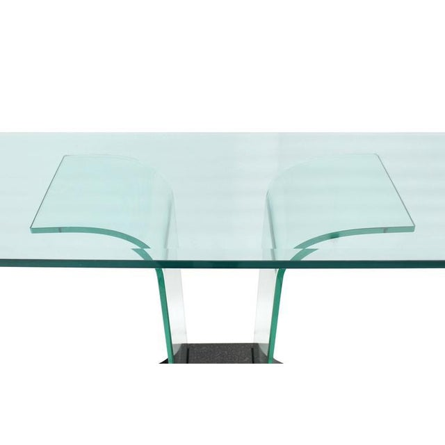 Italian Mid Century Modern Large Bent Glass Console Sofa Table For Sale - Image 6 of 9