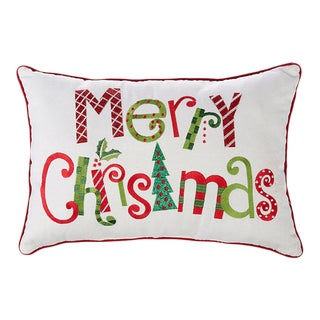 Kenneth Ludwig Chicago Merry Christmas Embroidered Pillow For Sale
