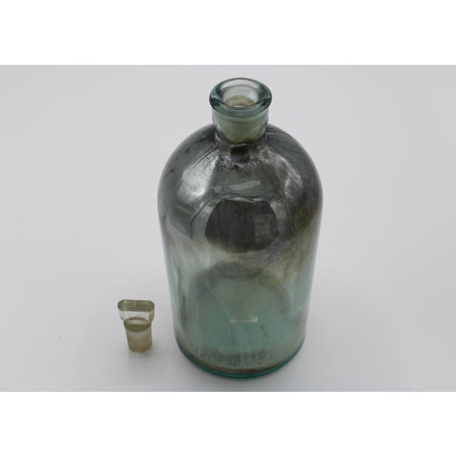 1900 - 1909 Antique Mercury Glass Apothecary Bottle With Stopper For Sale - Image 5 of 13