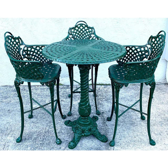 Victorian Victorian Style Garden/Patio Hightop Table and 3 Chairs, Provenance Celine Dion - Set of 4 For Sale - Image 3 of 11