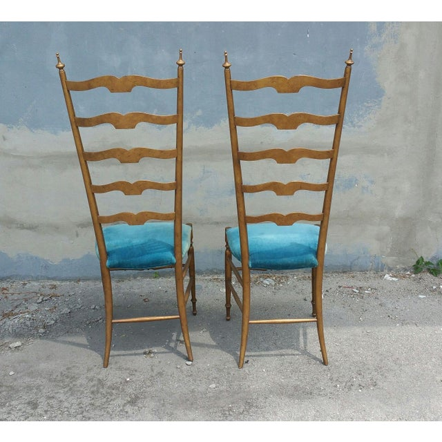 High style 1950's Italian exaggerated ladder back chairs manner of Gio Ponti all original including the finish and...