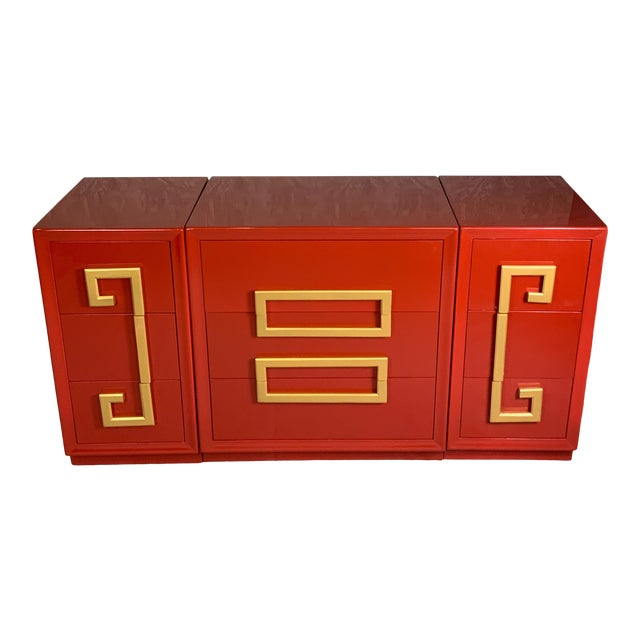 1970's Greek Key Mid Century Cabinets-Set of 3 For Sale
