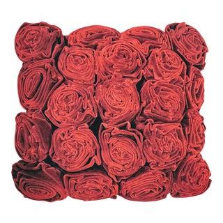 Velvet Roses Pillow Cranberry Red For Sale