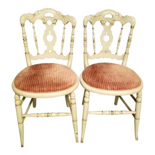 Vintage Petite Green Painted Side Chairs- a Pair For Sale