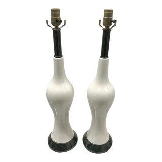 1960s Classic Black Metal Base Ceramic Lamps - a Pair For Sale