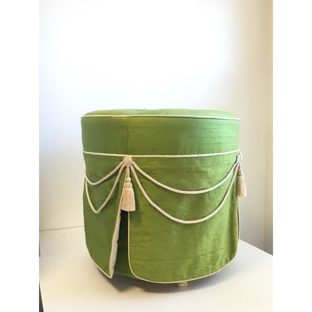 Hollywood Regency Green Silk Footstool For Sale - Image 4 of 8
