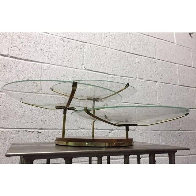 Mid-Century Modern Three-Tier Walnut and Brass Swivel Serving Plates For Sale - Image 3 of 6