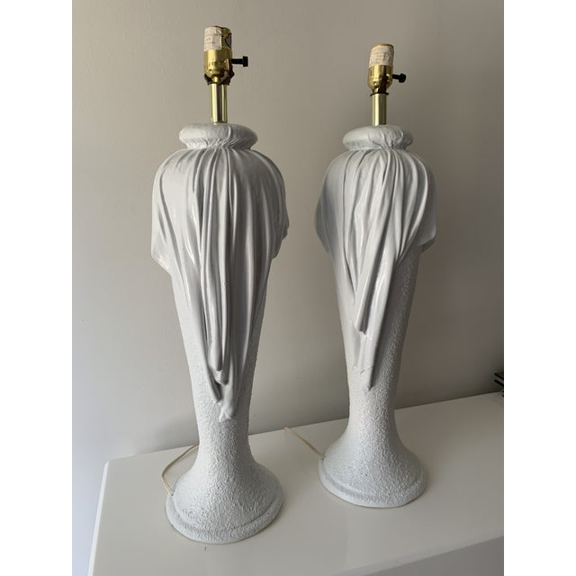 1980s Plaster Draped Table Lamps in the Manner of John Dickenson - a Pair For Sale - Image 13 of 13