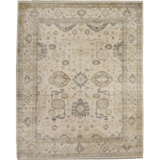 Oushak Hand Knotted Wool Ivory/Multi Rug - 10'x14' For Sale