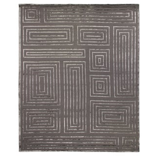 Vera Charcoal/Dark Gray Hand knotted Wool/Viscose Area Rug - 12'x15' For Sale