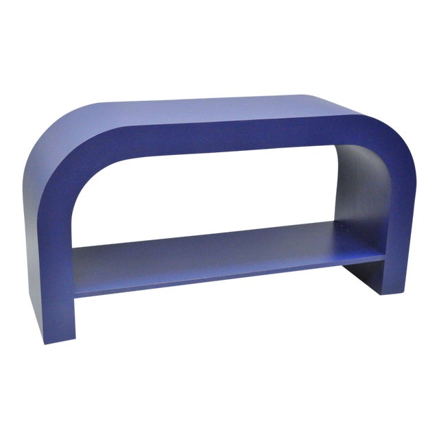 Mid Century Post Modern Blue Laminate Curved Waterfall Console - Image 1 of 11