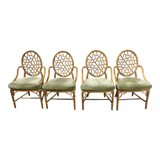 McGuire Cracked Ice Bamboo Rattan Green Suede Leather Arm Chairs - Set of 4 - Image 1 of 11
