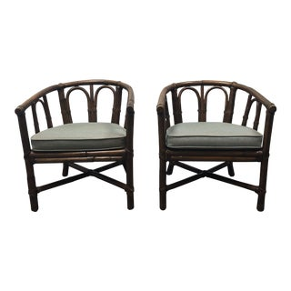 Contemporary McGuire Bamboo Barrel Chairs - a Pair