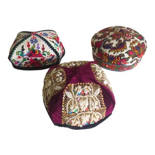 Vintage Rare Uzbek Afghani Turkmen Hand Embroidered Tribal Hats Collection - 3pc For Sale