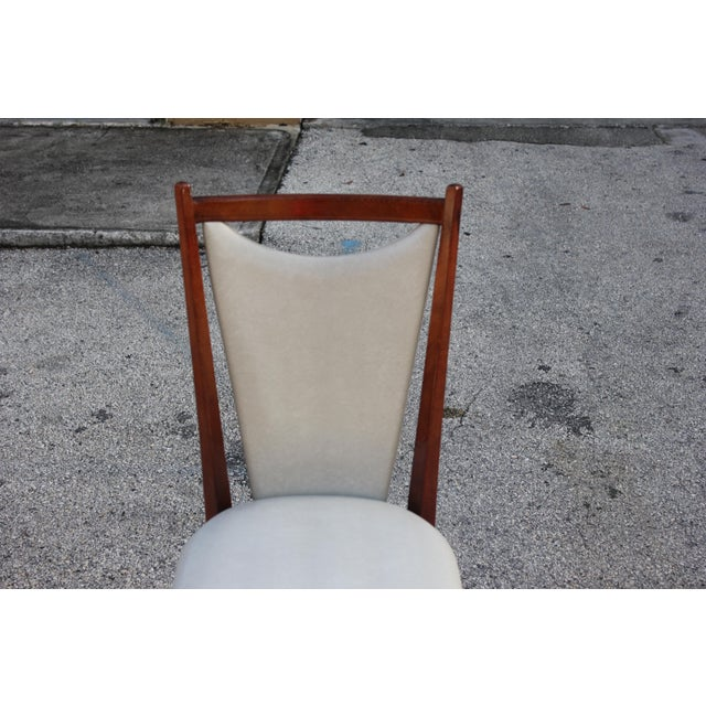 Brown Set of 6 French Art Deco or Art Modern Solid Mahogany Dining Chairs Circa 1950s For Sale - Image 8 of 13