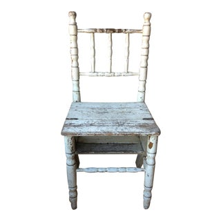 Antique Italian Painted Library Chair Ladder For Sale