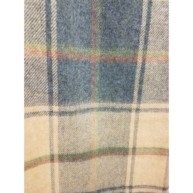 Textile Merino Wool Throw Light Soft Beige Grey Green Red Plaid - Made in England For Sale - Image 7 of 13