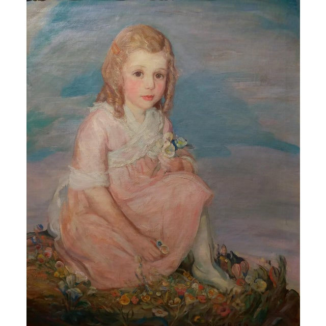 French Olive Rush Portrait of Louise Block Oil Painting, C. 1900s For Sale - Image 3 of 10