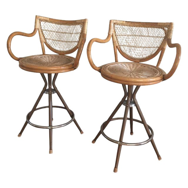 Vintage Wicker Bar Stools - A Pair - Image 1 of 7