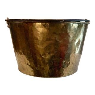 Antique Hammered Brass Kettle Bucket For Sale