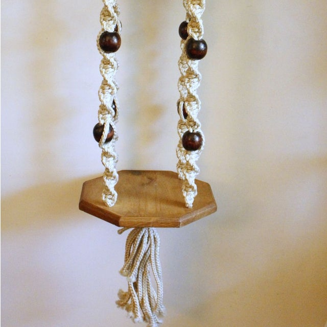 Vintage Wood Macrame Hanging Shelves - Image 5 of 7