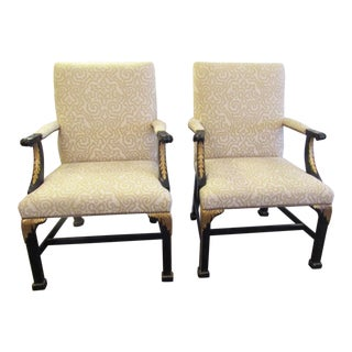 Americana Baker Furniture Company Black With Gold Accented Chairs - a Pair For Sale