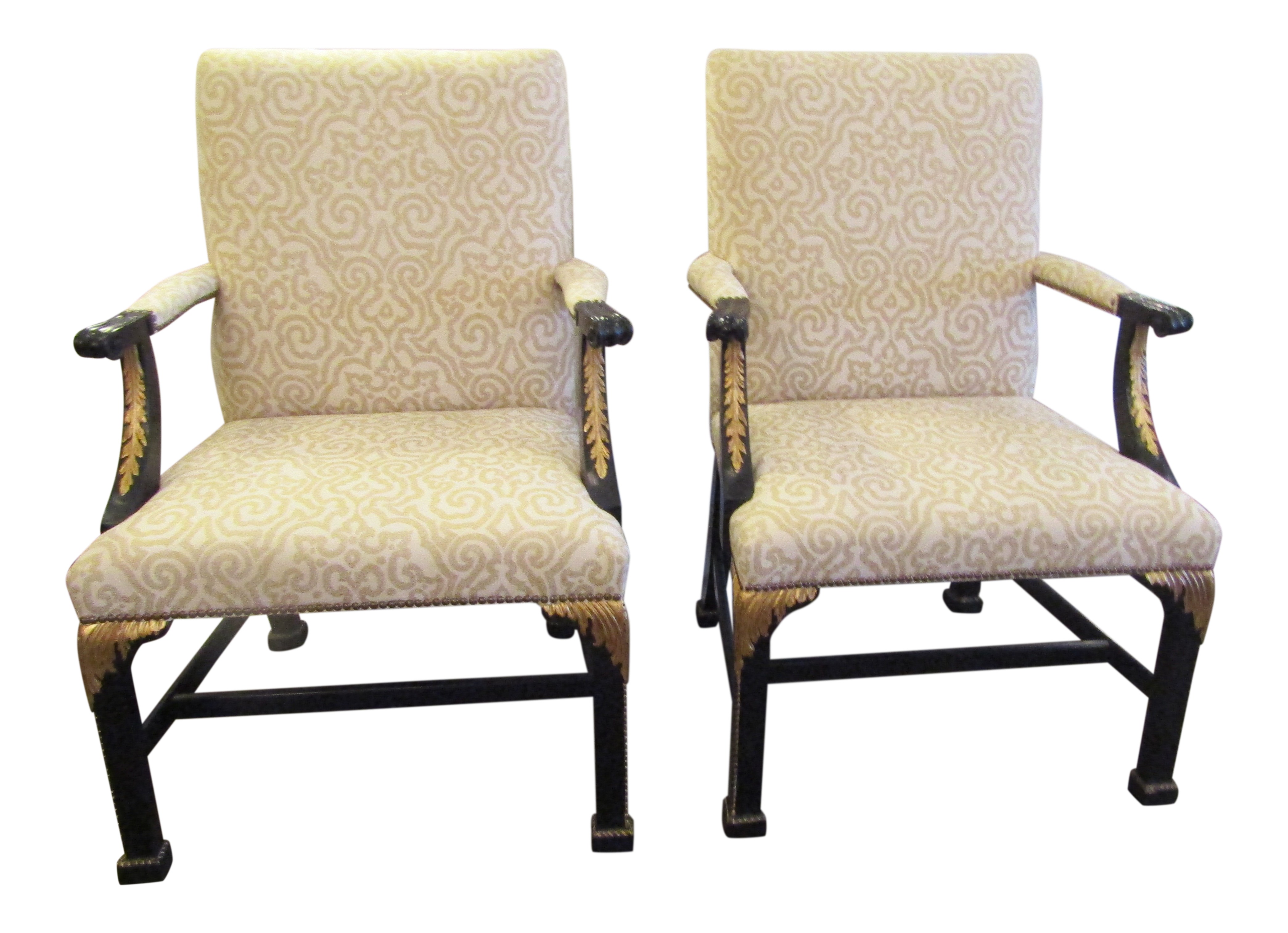 Americana Baker Furniture Company Black With Gold Accented Chairs   A Pair