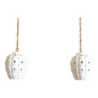 1960s Pierced Ceramic Pendants - a Pair For Sale