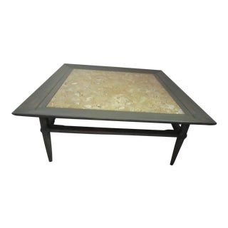 1970s Gray Tomlinson Square Coffee Table With Oyster Marble Inset For Sale