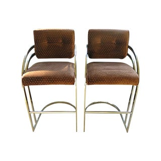 1980s Vintage Chrome Barstools- A Pair For Sale