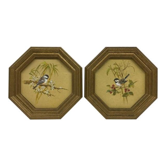 Mid-Century Modern Bird Prints Hexagon Framed - A Pair - Image 1 of 9