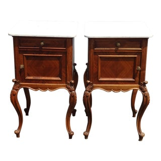 9th Century French Louis XVI Style Carved Nightstands White Marble Top-a Pair For Sale
