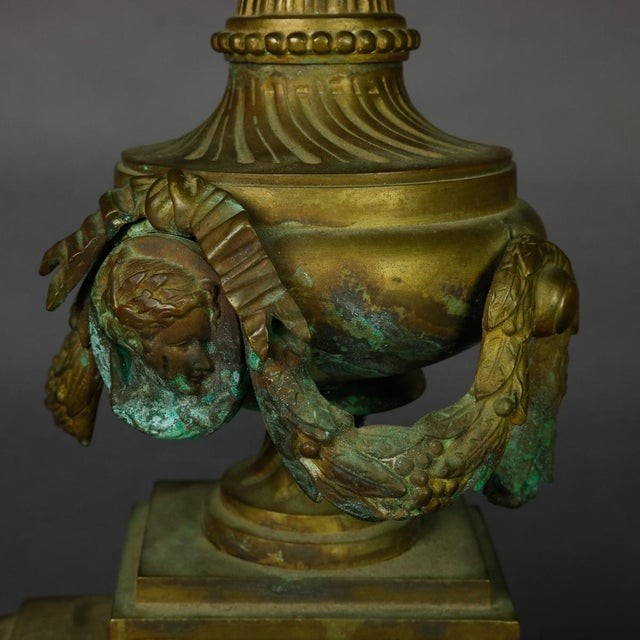 Metal Antique French Empire Figural Bronze Urn and Flame Form Fireplace Andirons- A Pair For Sale - Image 7 of 8