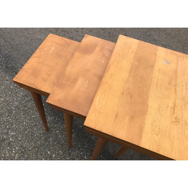 MCM Russell Wright for Conant Ball Nesting Tables - Set of 3 For Sale In San Francisco - Image 6 of 13