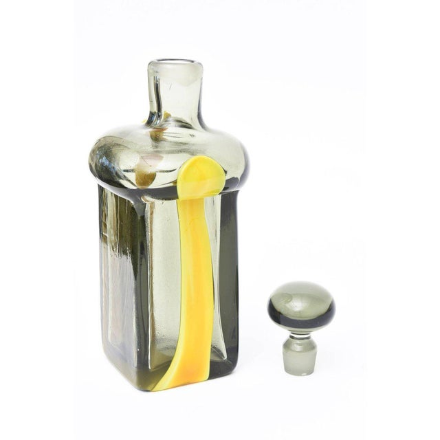 Yellow Pierre Cardin for Venini Italian Smoked Gray and Yellow Glass Decanter/Barware For Sale - Image 8 of 11
