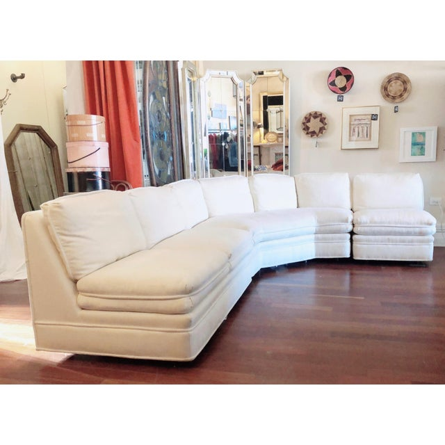 Stunning vintage sofa from premier maker Sherrill. This white sectional features a lovely white, nubby upholstery, firm...
