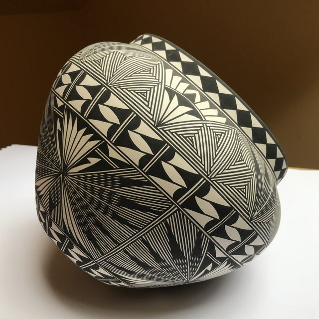 Acoma Pueblo Pottery Polychrome Bowl Signed Chino For Sale - Image 11 of 13