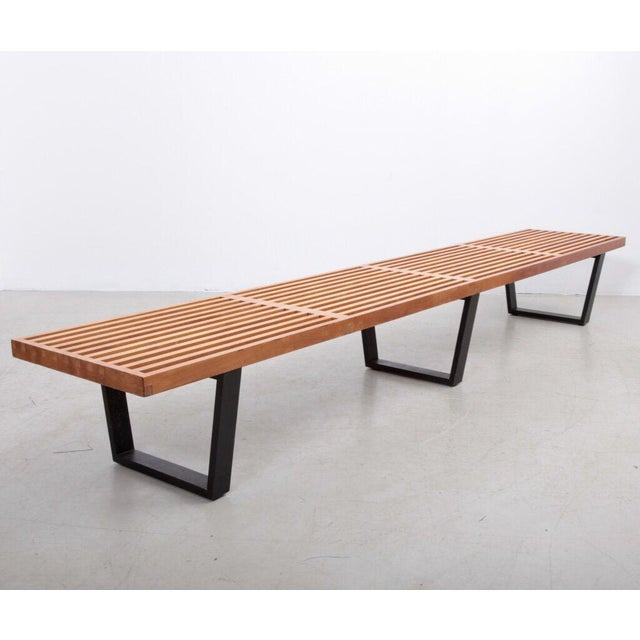 Fully original iconic George Nelson design for Herman Miller in the largest version that was available. This slat bench is...