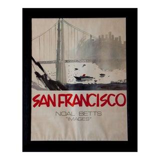 1980s Noal Betts San Francisco Golden Gate Bridge Skyline Framed Watercolor Print Poster For Sale