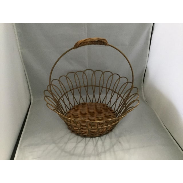 Brass Gold Vintage Metal Basket With Bamboo Bottom For Sale - Image 8 of 8