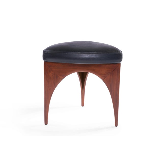 Allen Ditson 1960s Allen Ditson Wood and Leather Ottomans - a Pair For Sale - Image 4 of 8