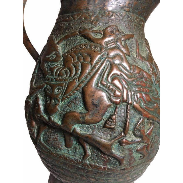 Copper 19th Century Persian Qajar Dynasty Copper Pitcher/Jug For Sale - Image 8 of 13