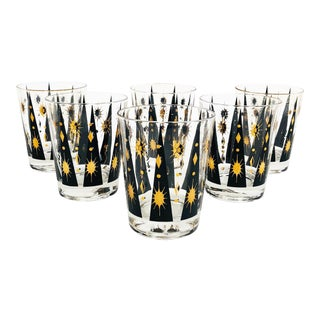Mid Century Black and Gold Cocktail Tumblers - Set of 6 For Sale