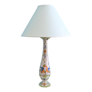 (Final Markdown) Outstanding French Faience Hand Painted Bird Table Lamp For Sale